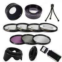 Tripod + Telephoto Zoom Lens+ Wide Angle Lens + Gifts Canon Eos Rebel T3 T3i