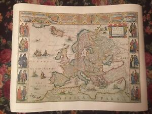 Vintage Hammond Prints Europe 16th Century World Map Lithograph Ebay