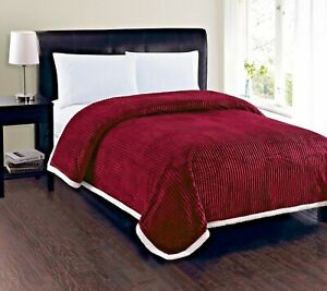 Soft-Plush-Reversible-Corduroy-Sherpa-Lined-Oversized-Bed-Blanket-Queen-King