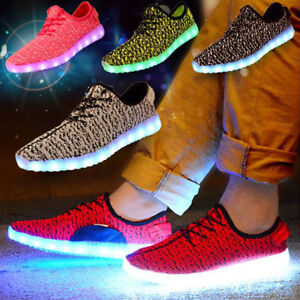 Xmas Gift 7 LED Light Up Sneaker Kids Boy Girl USB Lace Up Luminous Casual Shoes