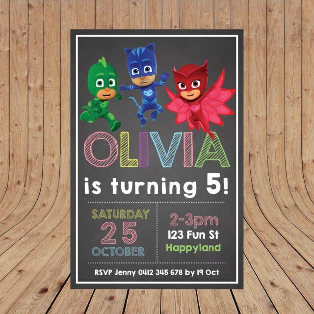 Personalised DIGITAL PJ MASKS Kids Birthday Party Invites Invitations YOU PRINT