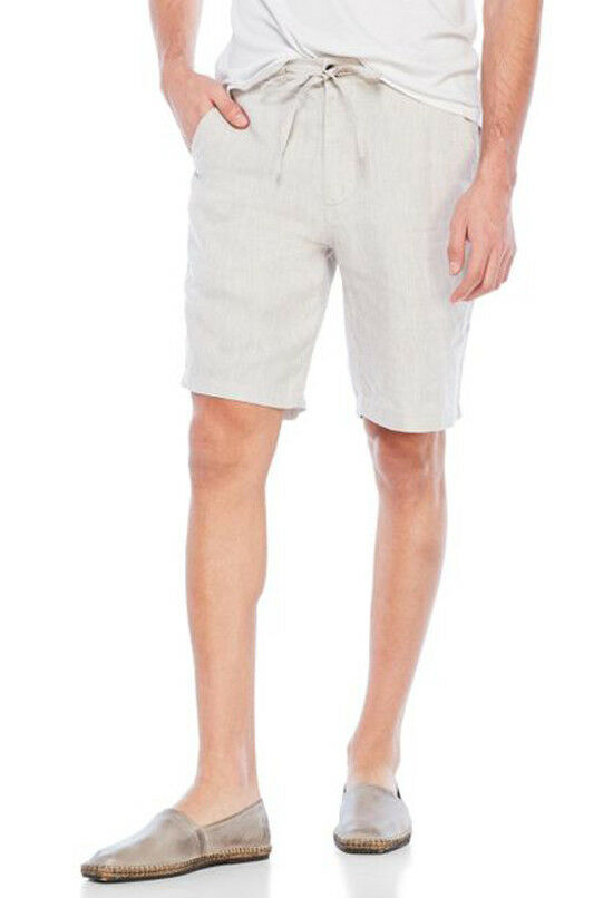 New Men's Report Collection Sand Beige 100% Linen Drawstring Shorts 34