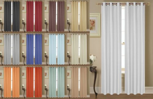 NEW-2-PANEL-SOLID-LINED-THERMAL-BLACKOUT-GROMMET-WINDOW-CURTAIN-DRAPE-NEW-JK64