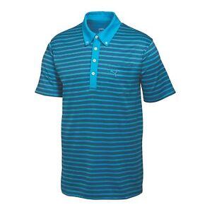 Image is loading Puma-Golf-Stripe-Pocket-Polo-Shirt-568316-Hawaiian-