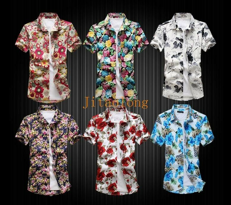 Men's Summer Floral Short Sleeve Shirt Hawaiian Shirt Hairstylist Outerwear Coat