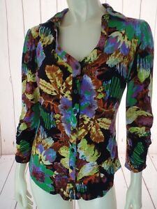 Peter-Nygard-Knit-Top-S-Multicolor-Rayon-Spandex-Stretch-Button-Front-Floral-HOT