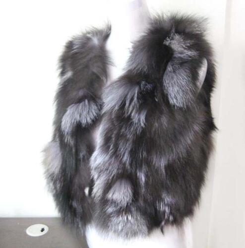 100/% Silberfuchs Fox fur vest Echt Weste Pelz Fuchs Pelzweste Fuchspelz