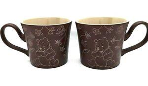Set of 2 Disney Store Winnie the Pooh Coffee Mugs Limited Ed. Unique Handles