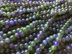 """15/"""" Strand Blue\Green Crackle Glass Beads 6mm Rounds Approx 75 Pieces"""