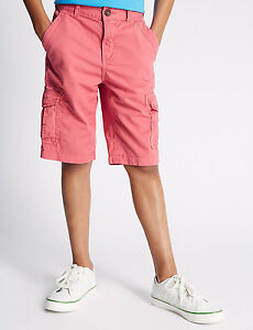 BOYS-SHORTS-PINK-CARGO-EX-M-S-SIZES-5-14-100-COTTON