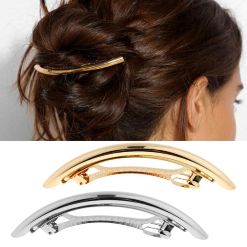 2x Automatic Tube Large French Barrette Hair Pin Womens Ponytail Holder Clip
