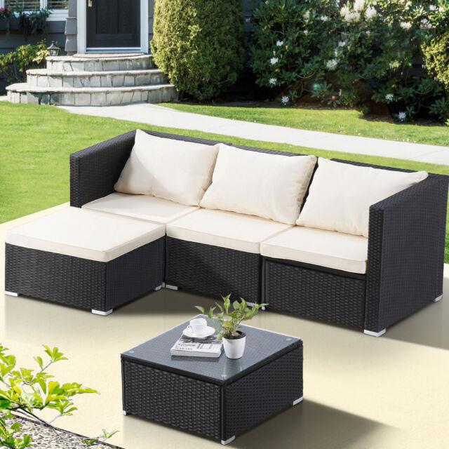 5PC Wicker Rattan Patio Sofa Set Garden Furniture Outdoor Corner Couch  w/Cushion