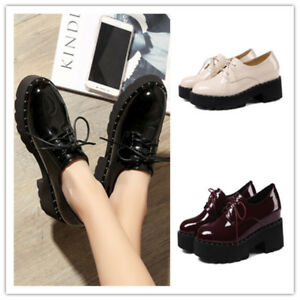 Womens Retro Creepers Platform Lace Up