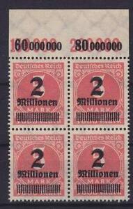 DR-Mi-Nr-312-4er-Block-2x-POR-Infla-Ziffer-Deutsches-Reich-1923-MNH