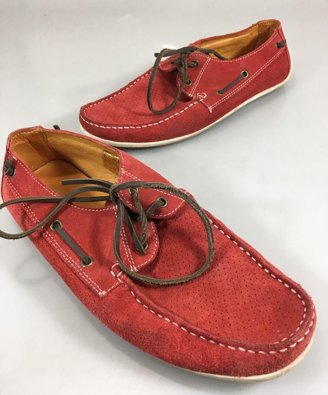 Donald J Pliner Mens 8 Braden Red Suede Driving Mocs Slip-on Boat Shoes