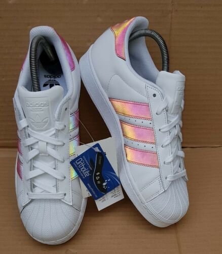 Neuf X Rare Holographiques Uk Superstar Iridescentes 5 Blancs Bnib Baskets Adidas Taille vnqpPOxUz