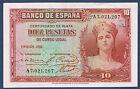 BILLET de BANQUE D'ESPAGNE de 10 PESETAS Pick n° 86 de 1935 en SUP A7,021,207