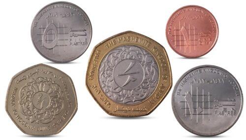 1//2 DINAR BIMETAL UNC 5 1//4 JORDAN 5 COINS SET 1 QIRSH 10 PIASTRES