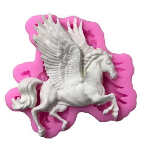 Christmas Flying Horse Wings Silicone Mold Fondant Cake Decor Baking WA