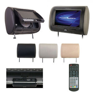 Power-Acoustik-7-034-Headrest-Monitor-3-Color-Skins-LCD-DVD-USB-SD-SOLD-HDVD71CC