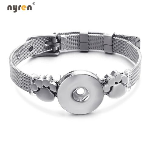 Stainless Steel Snap Charms Bracelet 18mm Ginger Snap Button For Snap Jewelry UK