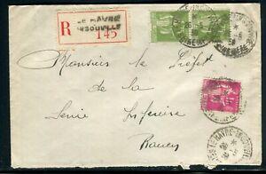 Enveloppe En Recommandé Du Havre En 1939 Pour Le Préfet De Rouen - Réf M131 Soyez Astucieux Dans Les Questions D'Argent