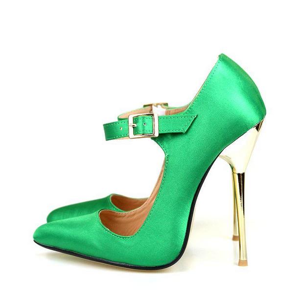 Elegante De Mujer Satén Tacones De Aguja Bombas Zapatos Zapatos Zapatos Sexy Taco Alto Puntera Puntiaguda Sandalias Talla  promocionales de incentivo