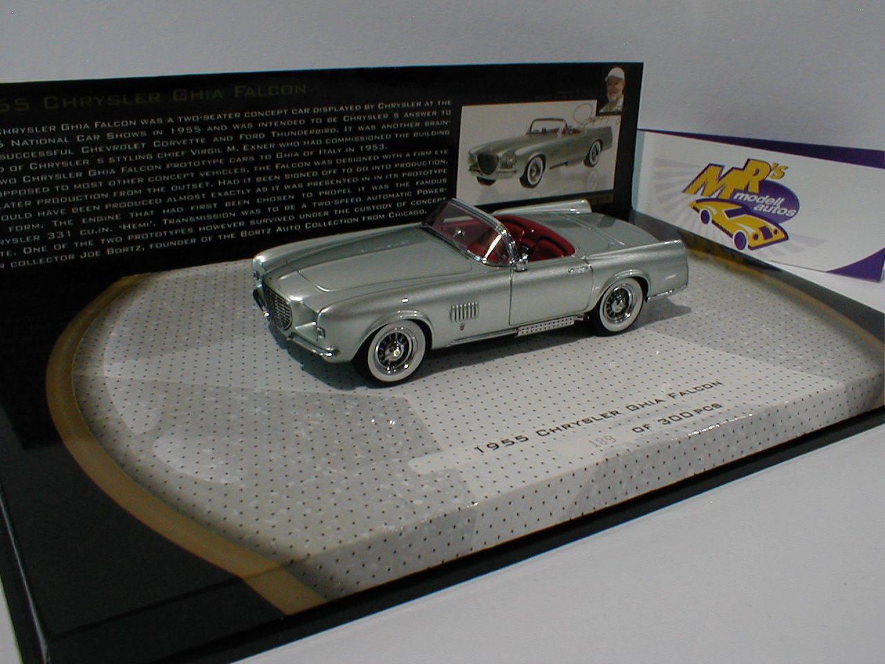 Minichamps 437143030 - chrysler ghia falcon cabrio bj.1955  silber  1 43 neu