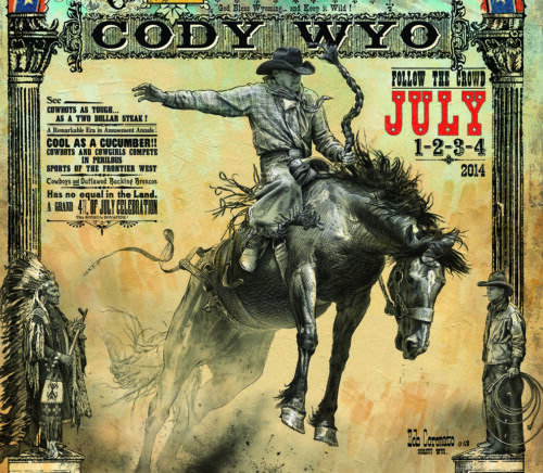 Cody Wyoming Buffalo Bill Stampede Rodeo poster Bob Coronato old cowboy signed