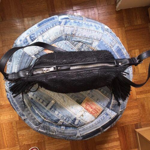 genuino Bolso de ceniza de bandolera Nuevo Agotado cuero flecos negro rtXXUxw