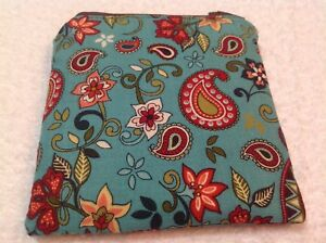 Handmade-Fabric-Coin-Purse-Small-Zippered-Pouch-Bag-Card-Holder-Paisley-Aqua