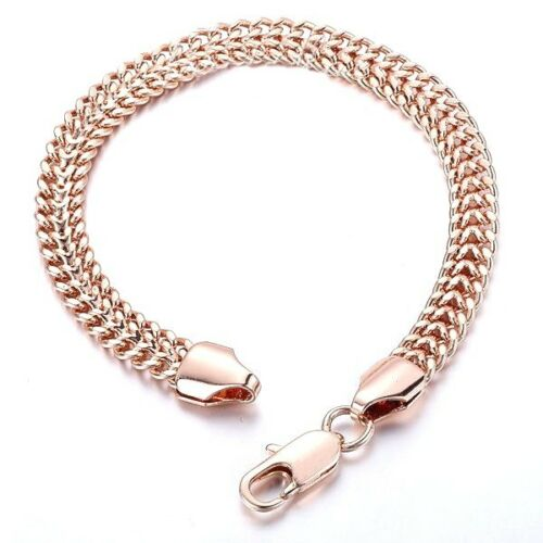7mm 14k Rose Gold filled Bracelet Bismark Chain Lobster claw s185