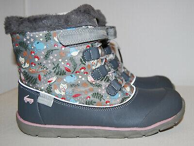 NIB See Kai Run Big Girls Abby II Waterproof Gray Woodland Winter Boots sz 4M