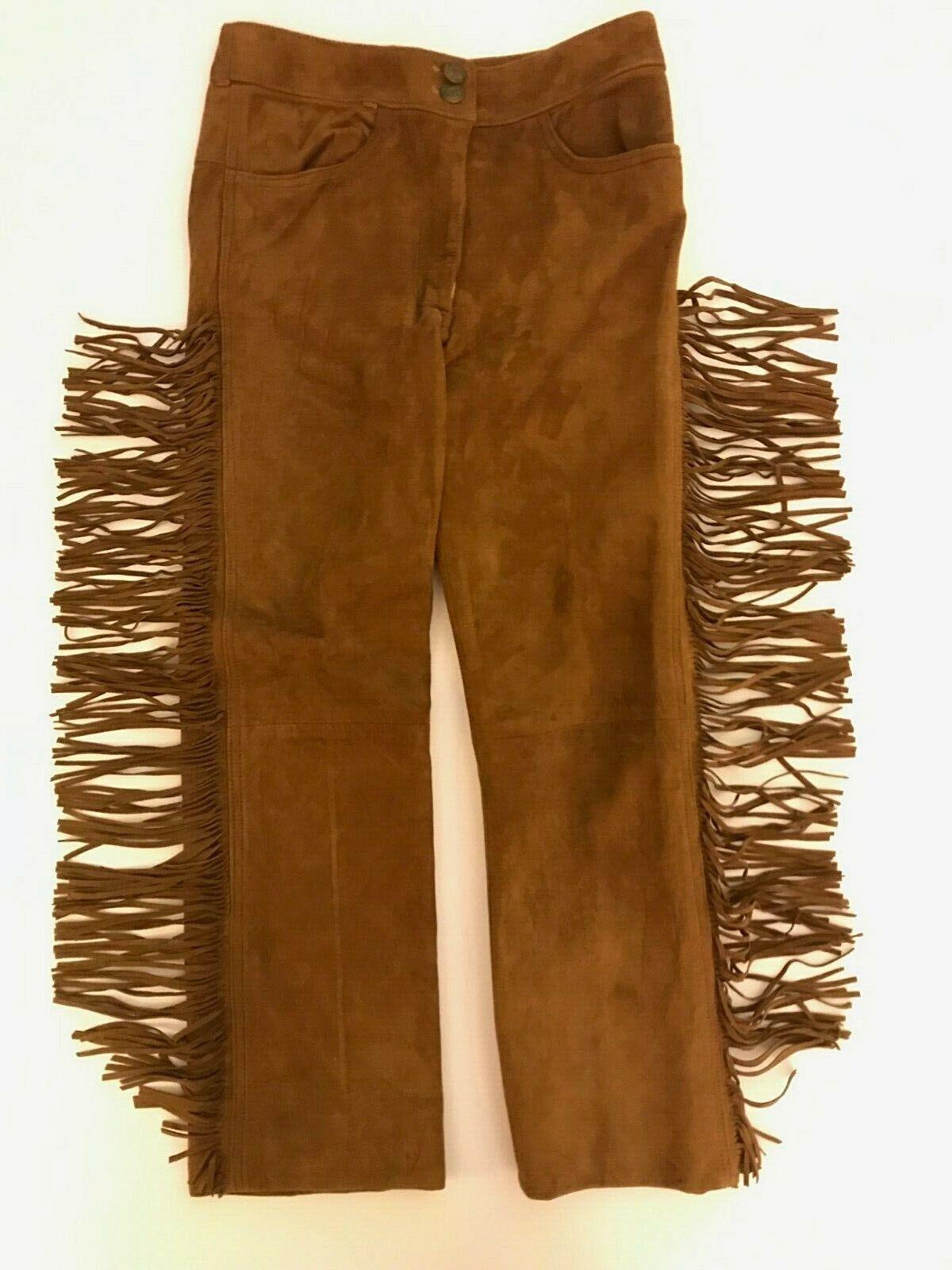Saks Fifth Avenue Women's Chestnut Suede Fringe High Waist Pants Fully Lined