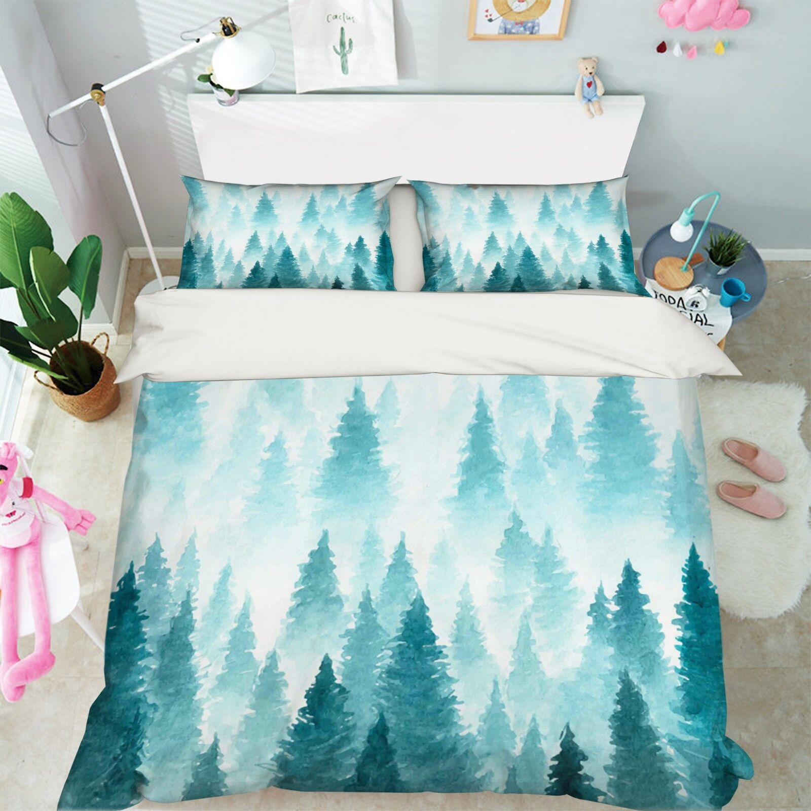 3D blu Paint Forest 106 Bed Pillowcases Quilt Duvet Single Queen King US Summer
