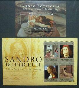 Saint-vincent 2010 Peintures Dessins Et Toiles Botticelli Peintre 6826-6829 Bloc 700 Neuf Sans Charnière-afficher Le Titre D'origine