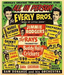 AD65-Vintage-1950-039-s-Everly-Brothers-Buddy-Holly-Concert-Poster-A4-Re-Print