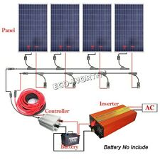 400W System 1KW 220V Pure Sine Wave Inverter 4*100W Solar Panel for Appliance