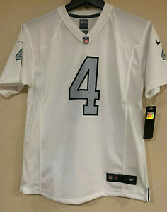 Details about Derek Carr Youth Nike On Field Replica White/Gray Jersey-Screen Printed-NFL Lic