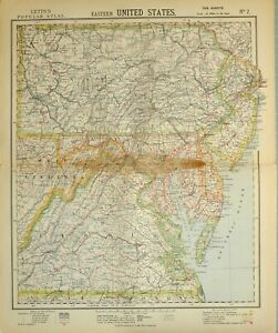 Details about 1883 LETTS MAP EASTERN UNITED STATES WEST VIRGINIA MARYLAND  NEW YORK BROOKLYN
