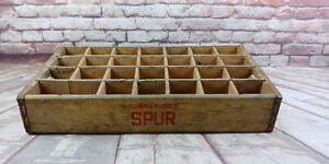 RARE-28-Slot-Canada-Dry-SPUR-COLA-BEVERAGE-Wood-Crate-Early-not-Pepsi-Coca