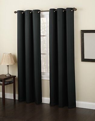 "Slide and Style by No. 918 Montego Grommet Single Panel, Black, 48""x63"" A462"