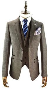 Custom-Khaki-Men-039-s-Vintage-Suit-3-Pcs-Tweed-Fleck-Classic-Slim-Fit-Wool-Suits