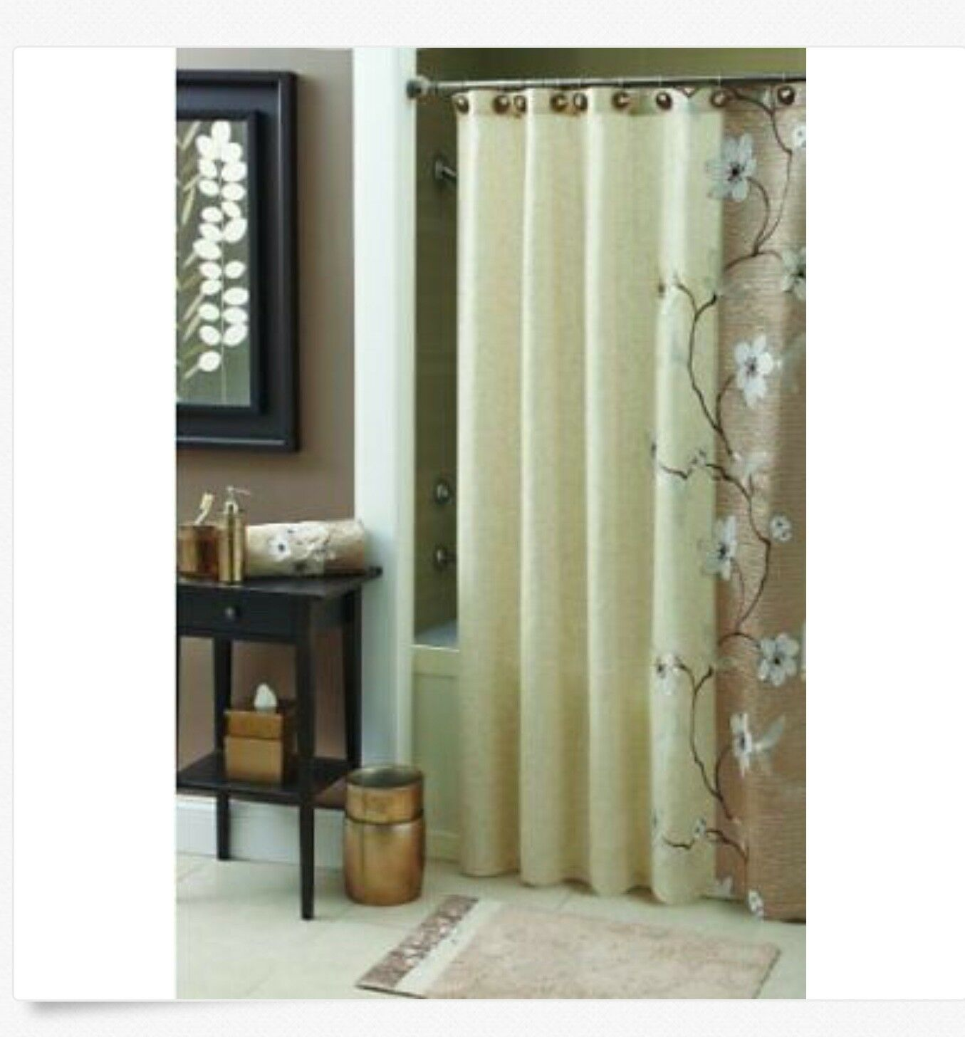 Croscill Magnolia 70 X 72 Stall Shower Curtain Gold Beige Blossoms Flowers F9ddd5