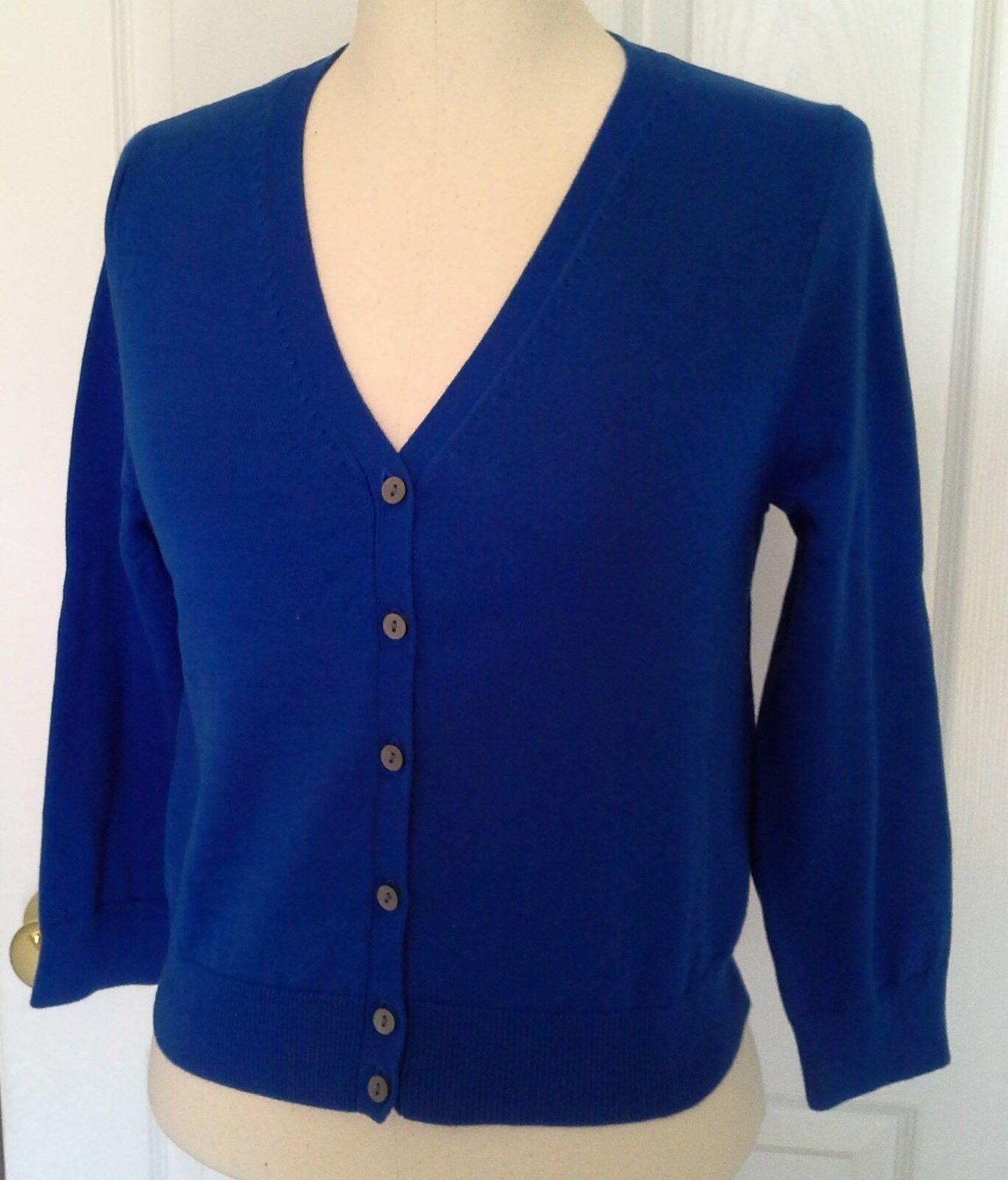 Lands End Women's 3 4 Sleeve Supima Dress Cardigan Rich Sapphire New