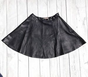 jaeger black real leather skater mini skirt size 10