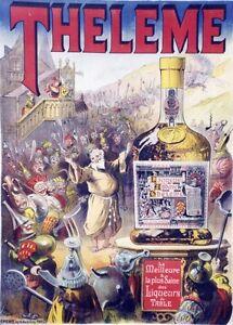 034-THELEME-034-Affiche-originale-entoilee-Litho-E-PICHOT-1897-GARGANTUA-RABELAIS