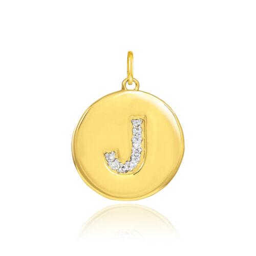 "10k Yellow Gold Letter /""J/"" Initial Diamond Disc Charm Pendant Necklace"