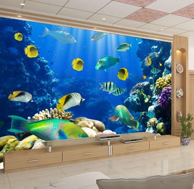 3D Corail Poisson 2Photo Papier Peint en Autocollant Murale Plafond Chambre Art