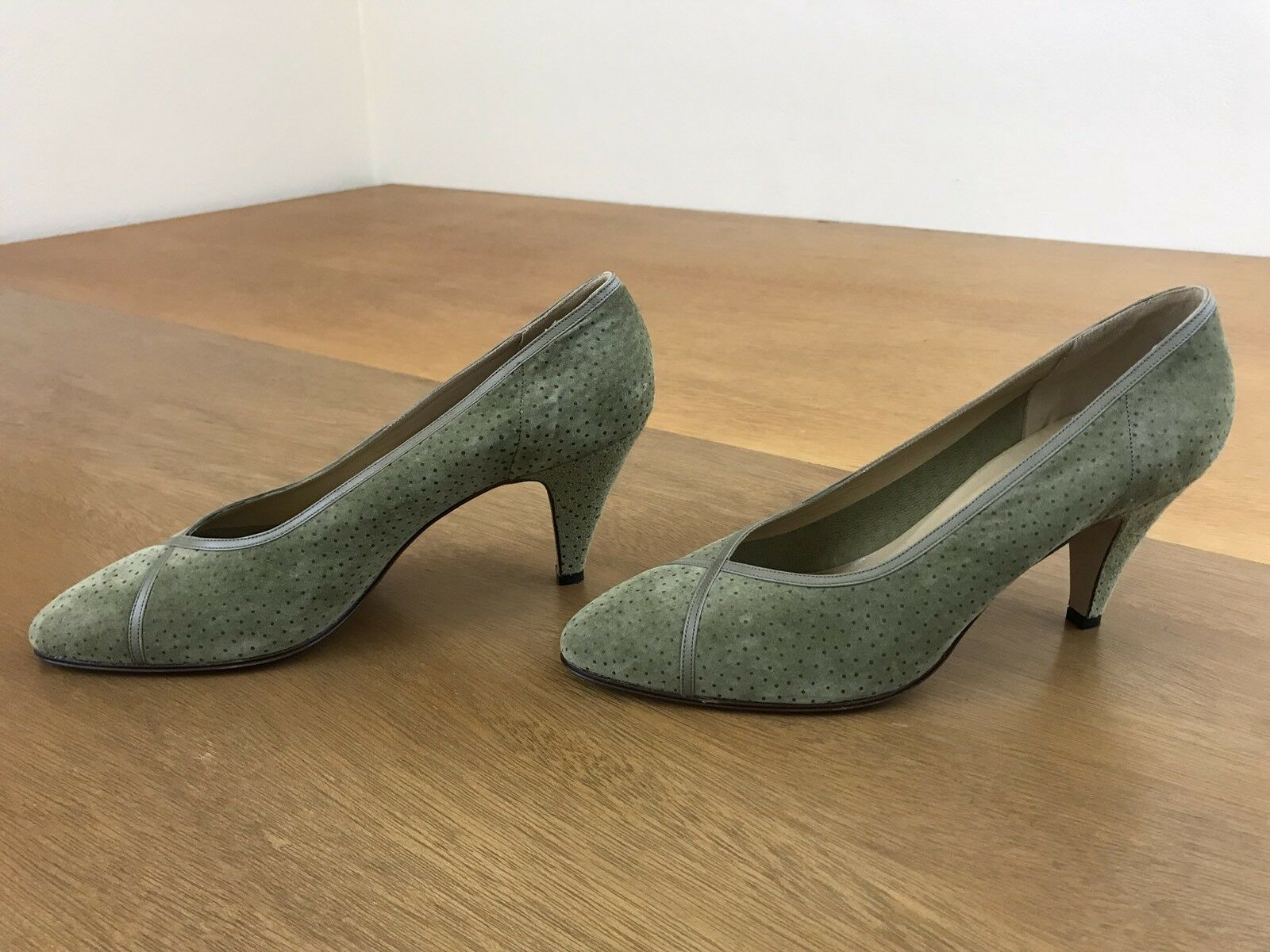 Serena D'Italia Heels Green Suede With Dots Women's Size US 8.5 Made In